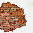 Break on the white wall - old brickwork — Stock Photo
