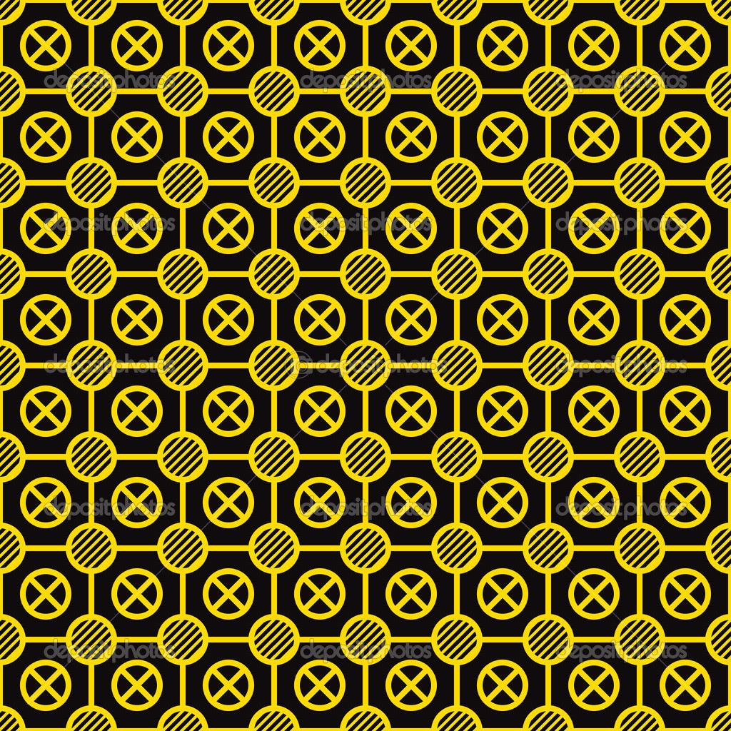 Vector seamless texture - yellow elements on a black background — Stock Vector #11407743