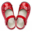 Baby red shoes on white — Stock Photo