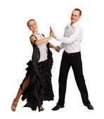 Young couple performs ballroom dance — Stock Photo