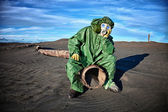 Man in the area of environmental disaster — Stock Photo