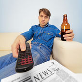 Man is resting at home — Stock Photo