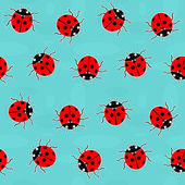 Ladybugs - eski moda vektörel desen — Stok Vektör