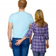 Young couple - rear view on white — Stock Photo