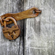 Stock Photo: Old padlock on wooden door