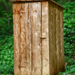 Rustic wooden toilet in the forest — Stok fotoğraf