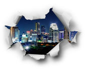 Night city in the hole — Stock Photo