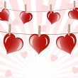 Vector de stock : Vector illustration of the hearts on rope on sunny background.