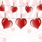 Векторная иллюстрация сердец на веревке на Солнечный фоне — Cтоковый вектор