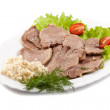 Boiled veal tongue with greens and a horse-radish — Stock Photo #10965150
