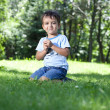 Cute boy with wildflowers sitting on green grass in park — Stock Photo #11545590