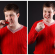 Stock Photo: Young guy eats pepper. A series of consecutive shots.