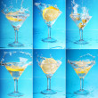 Stock Photo: An lemon splashing into a martini. six large images