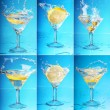 Lemon splashing into martini. six large images — Stock Photo #10792372