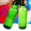 Stock Photo: Green bottle. disco background