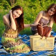 Royalty-Free Stock Photo: Two beautiful girls at a picnic