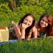 Two beautiful girls at a picnic — Stock fotografie #10829763