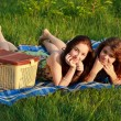 Foto Stock: Two beautiful girls at a picnic