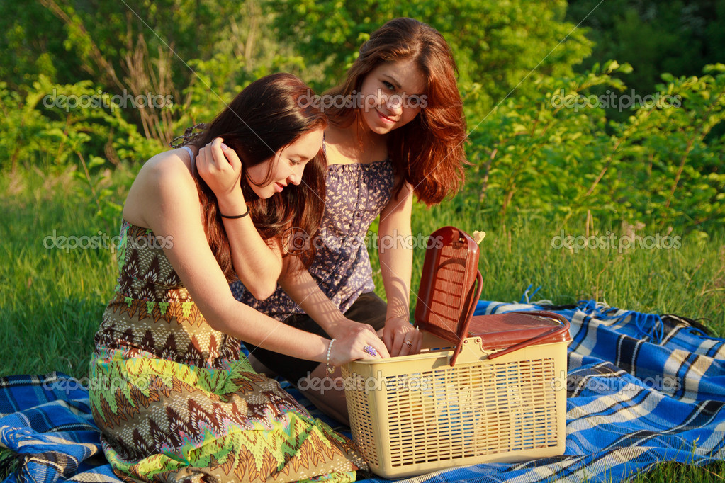 Two beautiful girls at a picnic — Stock Photo #10829486