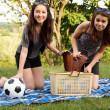 Two beautiful girls at a picnic — Stock Photo
