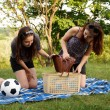 Two beautiful girls at a picnic - Foto Stock