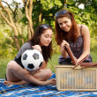 Two beautiful girls at a picnic — Stock Photo #10830407