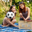 Stock Photo: Two beautiful girls at a picnic