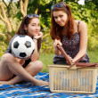 Two beautiful girls at a picnic — Stock fotografie