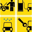 Car service, fuel station, auto repair - vector icon set — Stock Photo