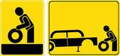 Däck ändra tecken — Stockfoto