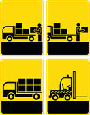 Delivery, loading area, discharge - vector icon set — Stock Photo