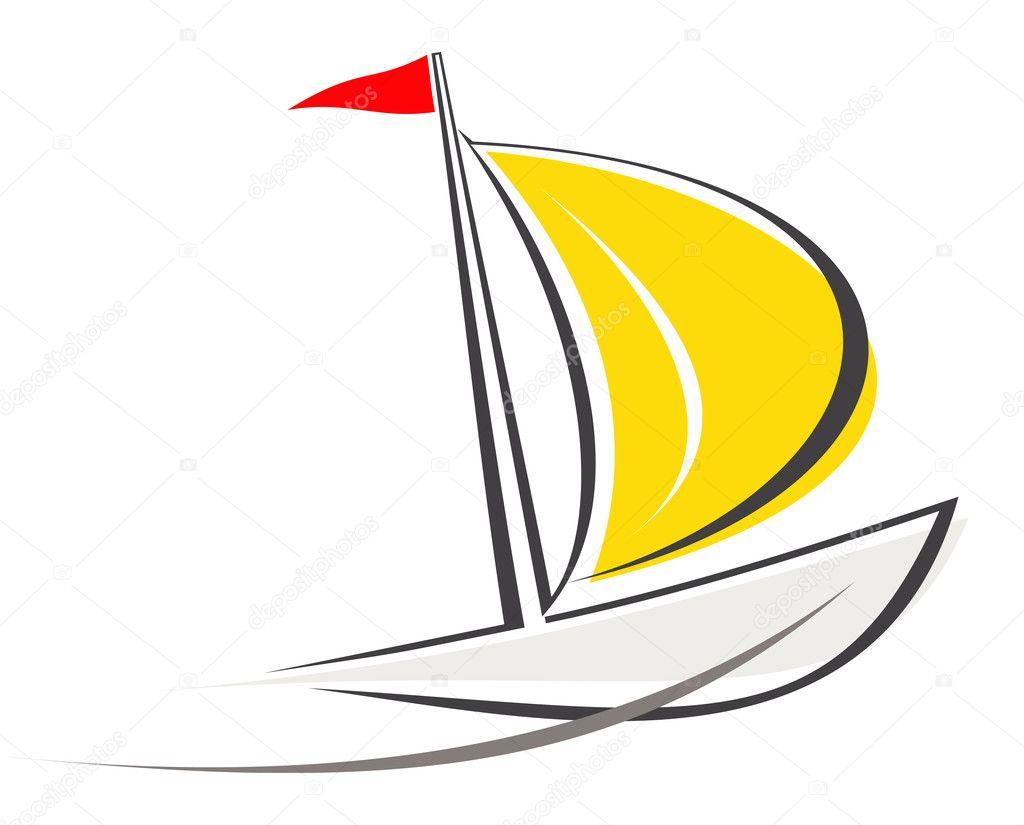 лодка с парусником рисунок