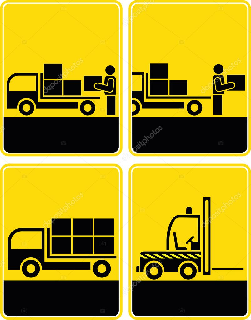 Set of logistical signs - cargo, transportation icons. Loading area, discharge zone, delivery, shipping, traffic. Yellow and black vector icons. Forklift in operating. — Stock Photo #10773592