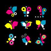 Set di icone farfalla — Vettoriale Stock