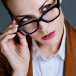 Beautiful business woman with glasses. Close-up portrait — Zdjęcie stockowe