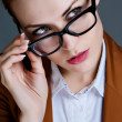 Beautiful business woman with glasses. Close-up portrait — Стоковая фотография