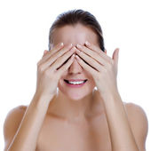 Laughing Woman Covering Her Eyes, — Stock Photo