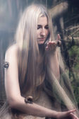 Girl in the forest. unity with nature concept — Stock Photo