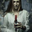 Phantom girl with candle — Stockfoto