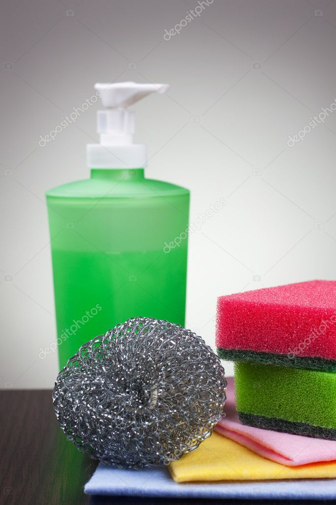 Washing tools over grey background  Stock Photo #11974213