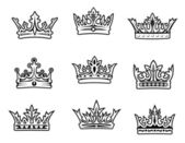 Set of royal crowns — Stock Vector