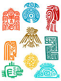Ancient maya elements and symbols — Stock Vector