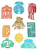 Ancient maya elements and symbols — Stock Vector