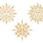 Vintage sun mascots — Stock Vector