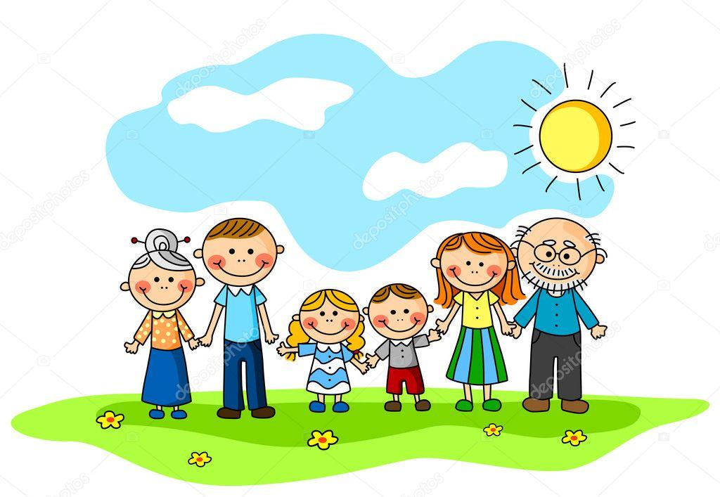 父母和孩子们.矢量插画
