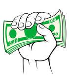 Cash money in hand — Stock Vector