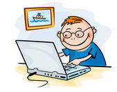 Funny boy playing on computer — Stock Vector