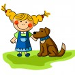Funny girl with brown puppy — Stock Vector