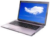 Laptop met sky wallpapers — Stockfoto