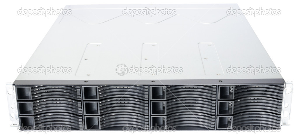 Rack mount disk storage system isolated on the white background — Stock Photo #11917010